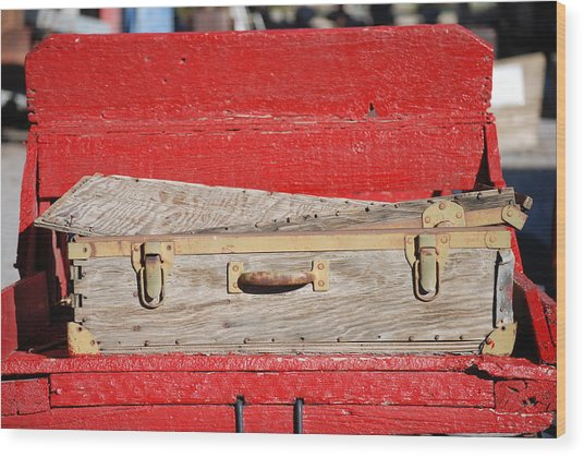 Old Suitcase Wood Print by Pamela Schreckengost