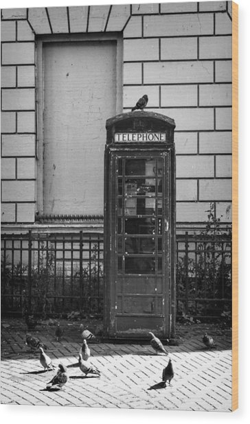 Old Telephone Box Wood Print