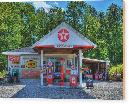 Old Texaco Station Wood Print