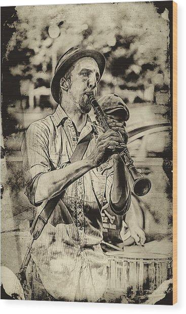 Old Time Clarinet Music Wood Print by John Haldane