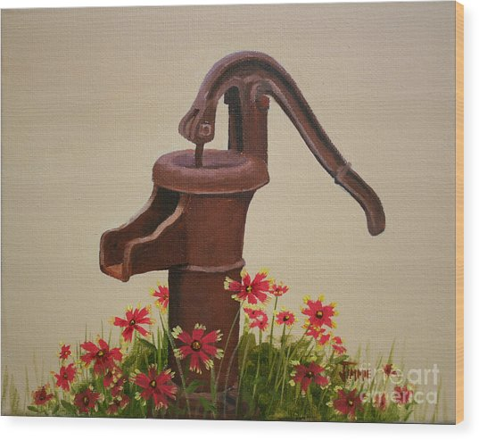 Old Time Pump Wood Print