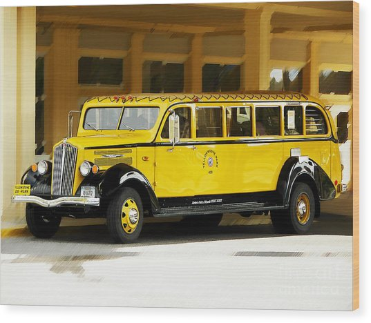 Old Time Yellowstone Bus Wood Print