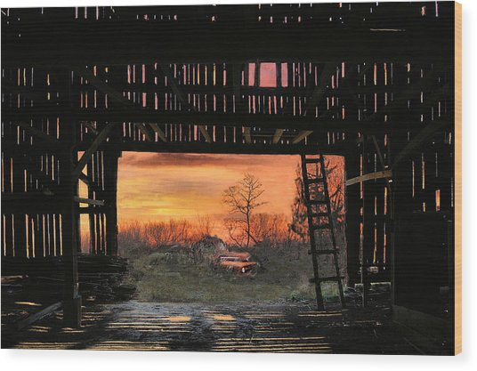 Old Timers Sunset Wood Print