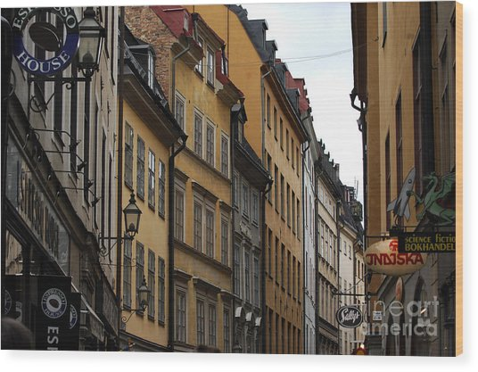 Old Town In Stockholm Sweden Wood Print by Micah May