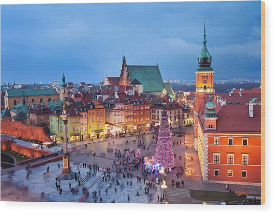 Old Town In Warsaw At Night Wood Print
