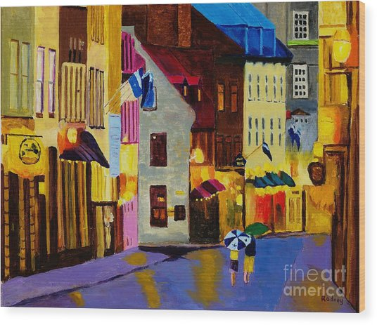 Old Towne Quebec Wood Print