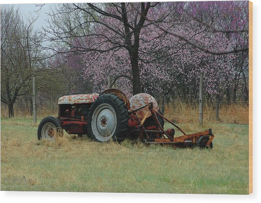 Old Tractor And Redbuds Wood Print