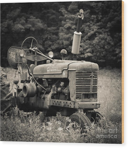 Old Tractor Black And White Square Wood Print