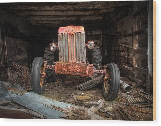 Old Tractor Face Wood Print