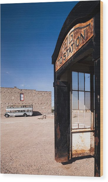 Old Train Station, Goldfield, Great Wood Print