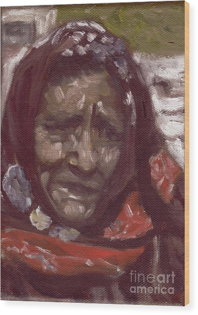 Old Tribal Woman From India Wood Print