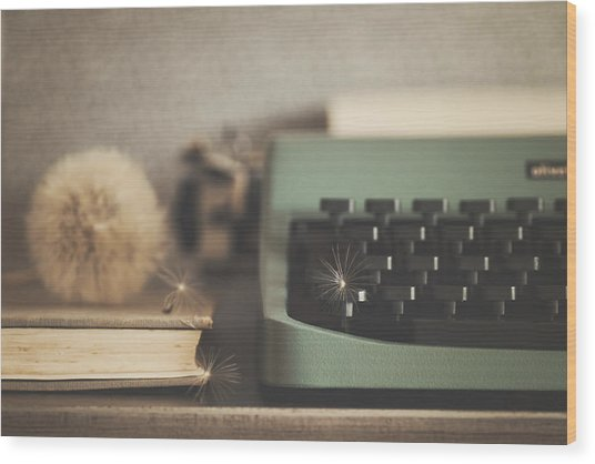 Old Typewriter Wood Print by Alicia Llop