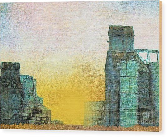 Old Used Grain Elevator Wood Print