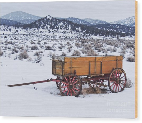 Old Wagon In Snow Wood Print