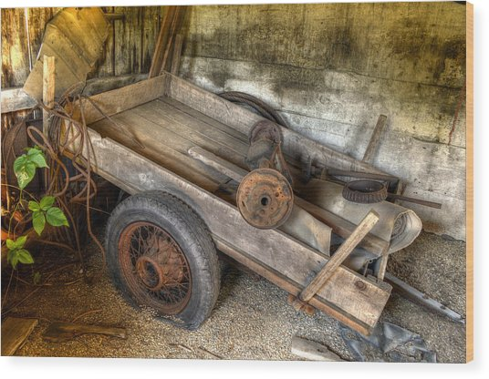 Old Wagon In The Barn Wood Print