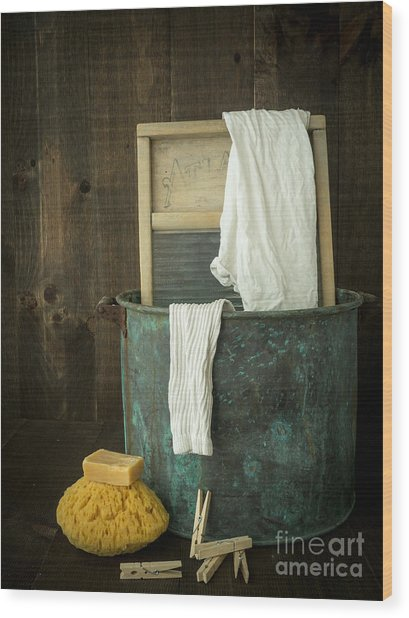 Old Washboard Laundry Days Wood Print