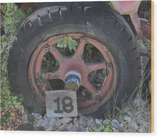Old Wheel Wood Print