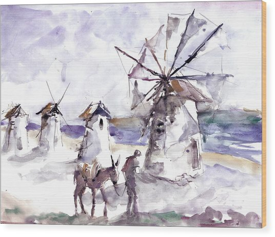 Old Windmills At Bodrum Wood Print