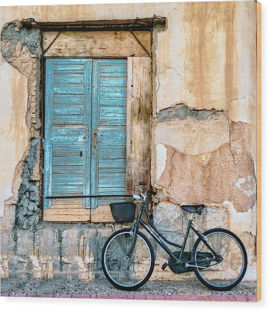 Old Window And Bicycle Wood Print by George Digalakis