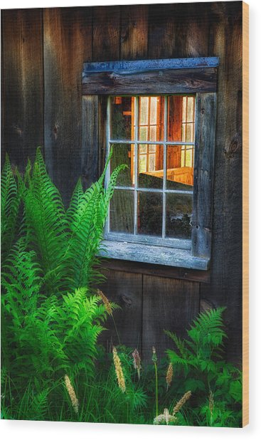 Old Window Wood Print