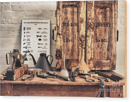 Old  Wood Workbench Wood Print