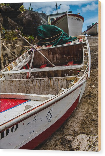 Old Wooden Fishing Boat On Dock  Wood Print