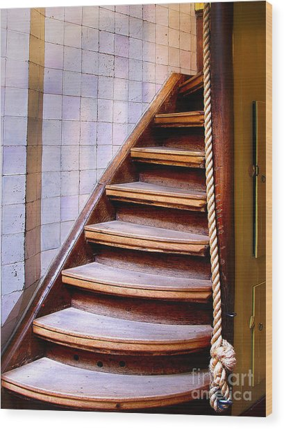 Old Wooden Stairs Wood Print