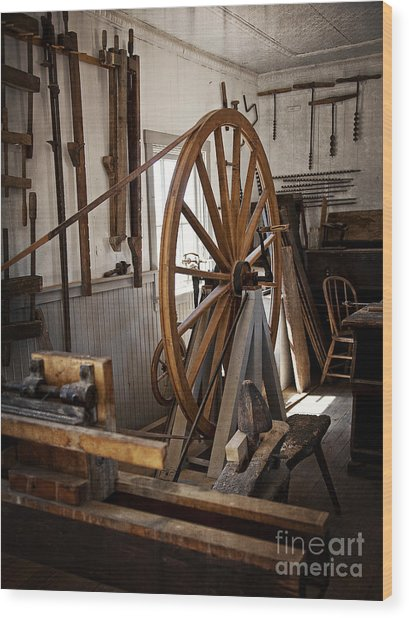 Old Wooden Treadle Lathe And Tools Wood Print