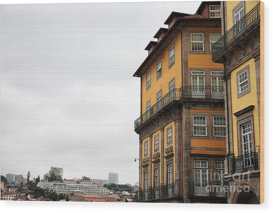Old World Buildings In  Porto Wood Print by John Rizzuto