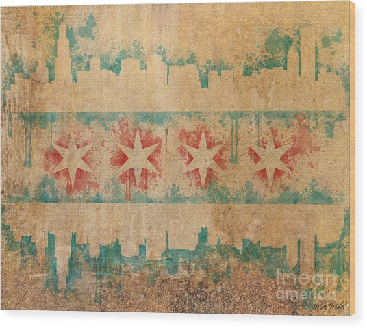 Old World Chicago Flag Wood Print