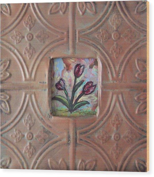 Old World Tulips Wood Print