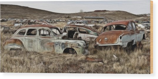 Old Wrecks Wood Print