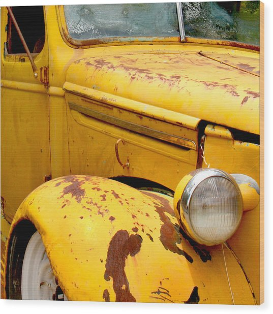 Old Yellow Truck Wood Print
