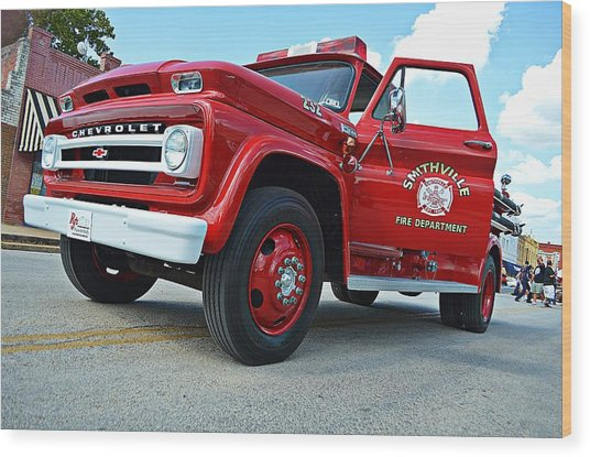 Ole Time Fire Truck Wood Print by Kelly Kitchens