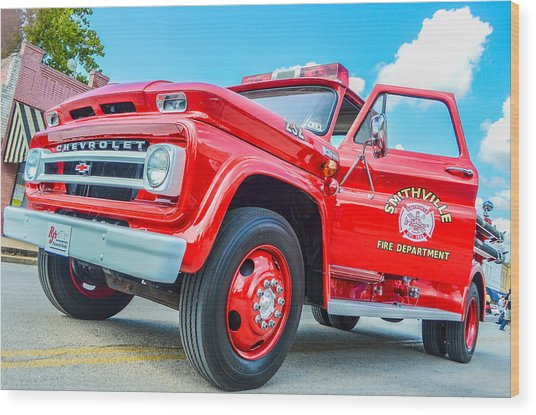 Ole Time Fire Truck Series 1 Wood Print by Kelly Kitchens