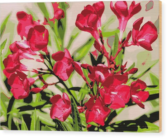 Oleander Red Wood Print by Sheri McLeroy