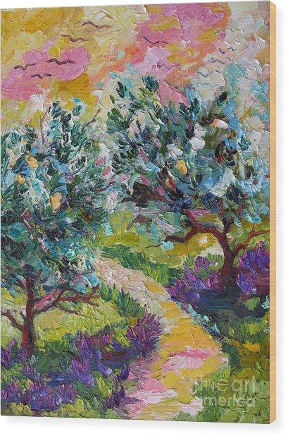 Impressionist Olive Trees And Lavender Path Wood Print