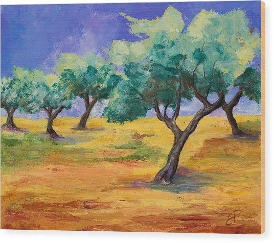 Olive Trees Grove Wood Print