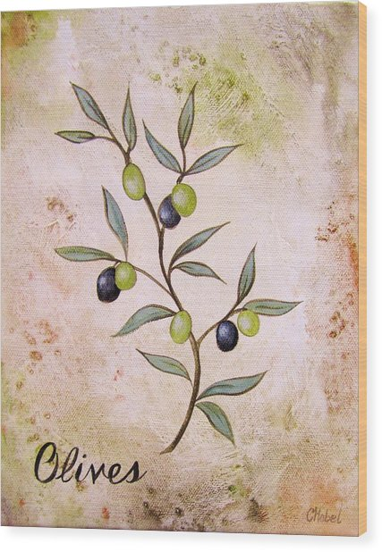 Olives Painting Wood Print