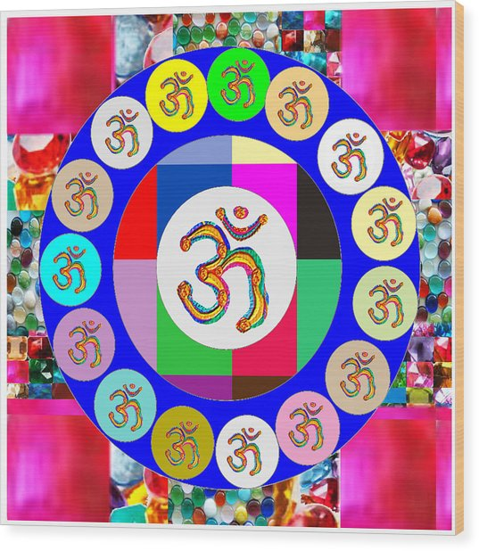 Om Mantra Dedication  Devotion Symbol Assembly By Artist N Reiki Healing Master Navinjoshi Wood Print