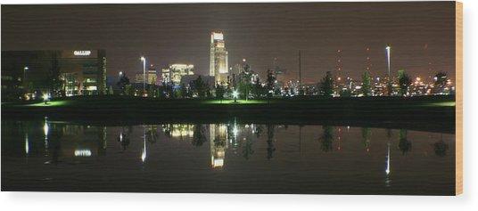 Omaha Skyline Reflection Wood Print