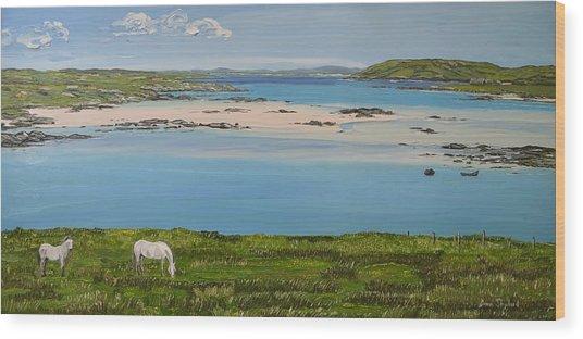 Omey Strand To Omey Island Cladaghduff Connemara Ireland Wood Print