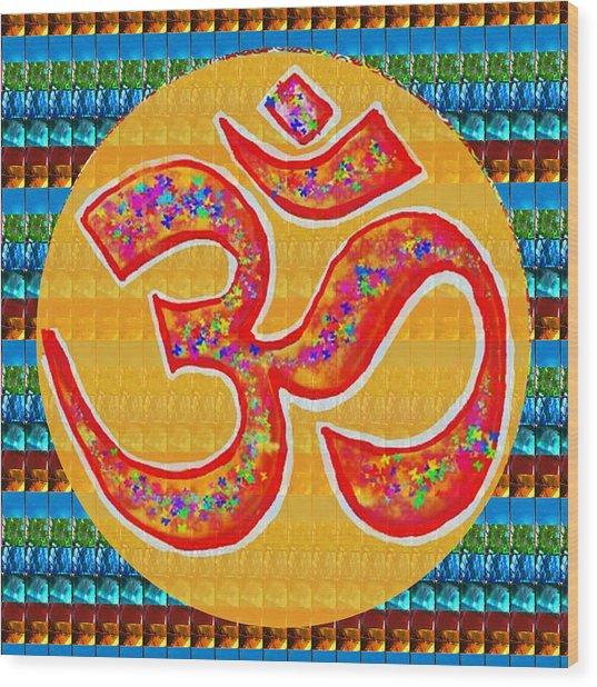 Ommantra Om Mantra Chant Yoga Meditation Spiritual Religion Sound  Navinjoshi  Rights Managed Images Wood Print