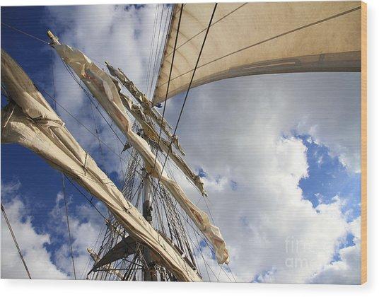 On A Sail Ship Wood Print