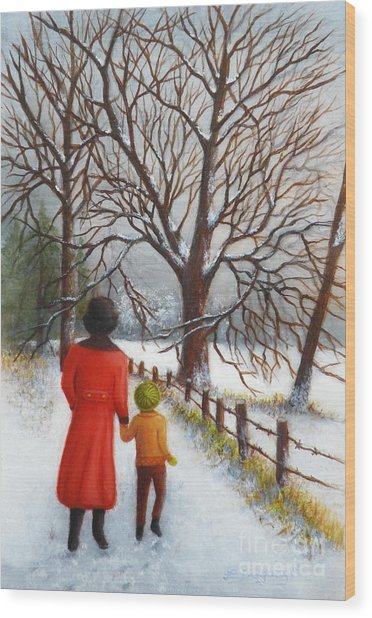 On A Wintry Walk With Gran Wood Print