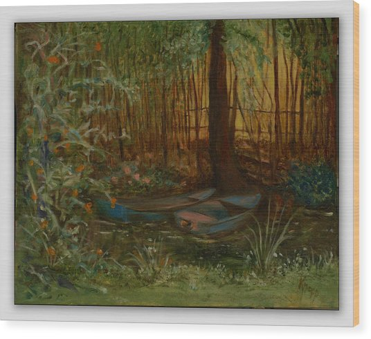 On Monet's Pond Wood Print
