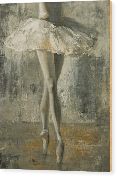 Wood Print featuring the painting En Pointe by Jani Freimann