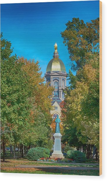On The Campus Of The University Of Notre Dame Wood Print