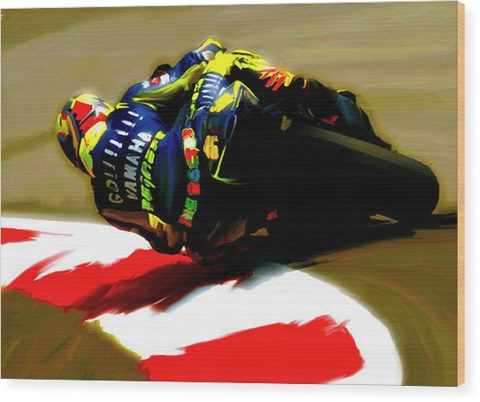 On The Edge Vi Valentino Rossi Wood Print