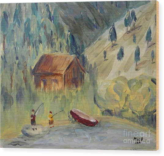 On The Lake Wood Print